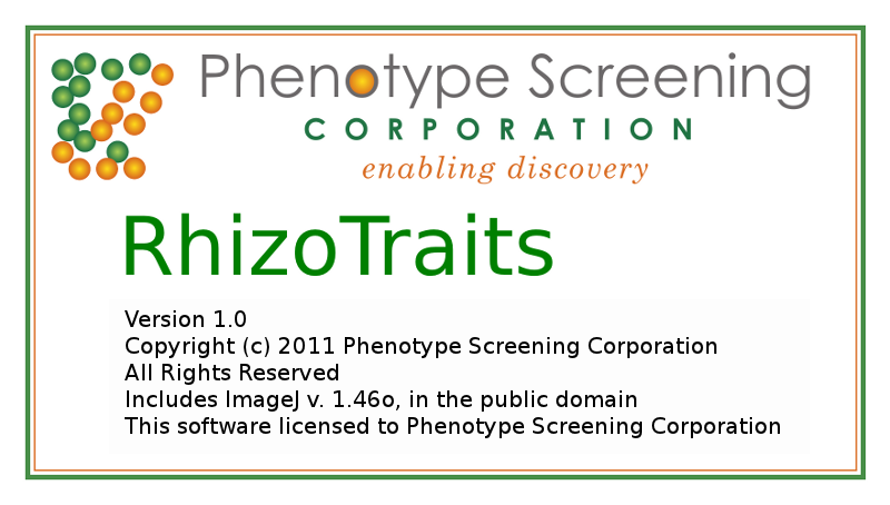 Phenotype Screening Corporation RhizoTraits Splash Screen